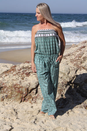 Living It Up Long Jumpsuit In Green Boarder