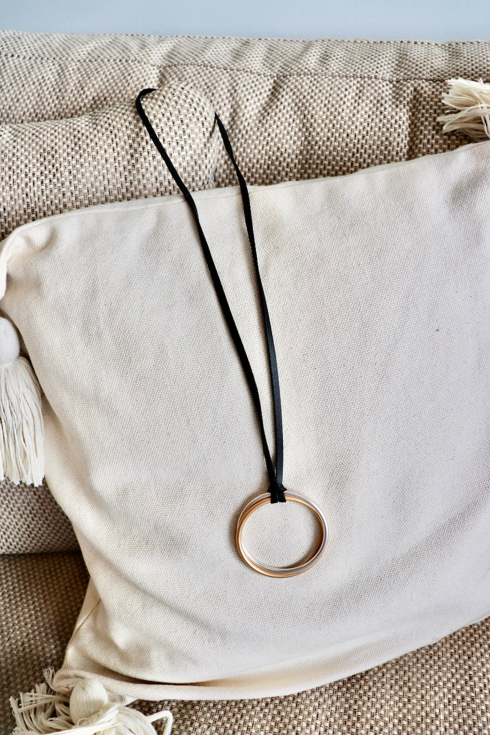 Long Silver/Gold Round Pendant Necklace