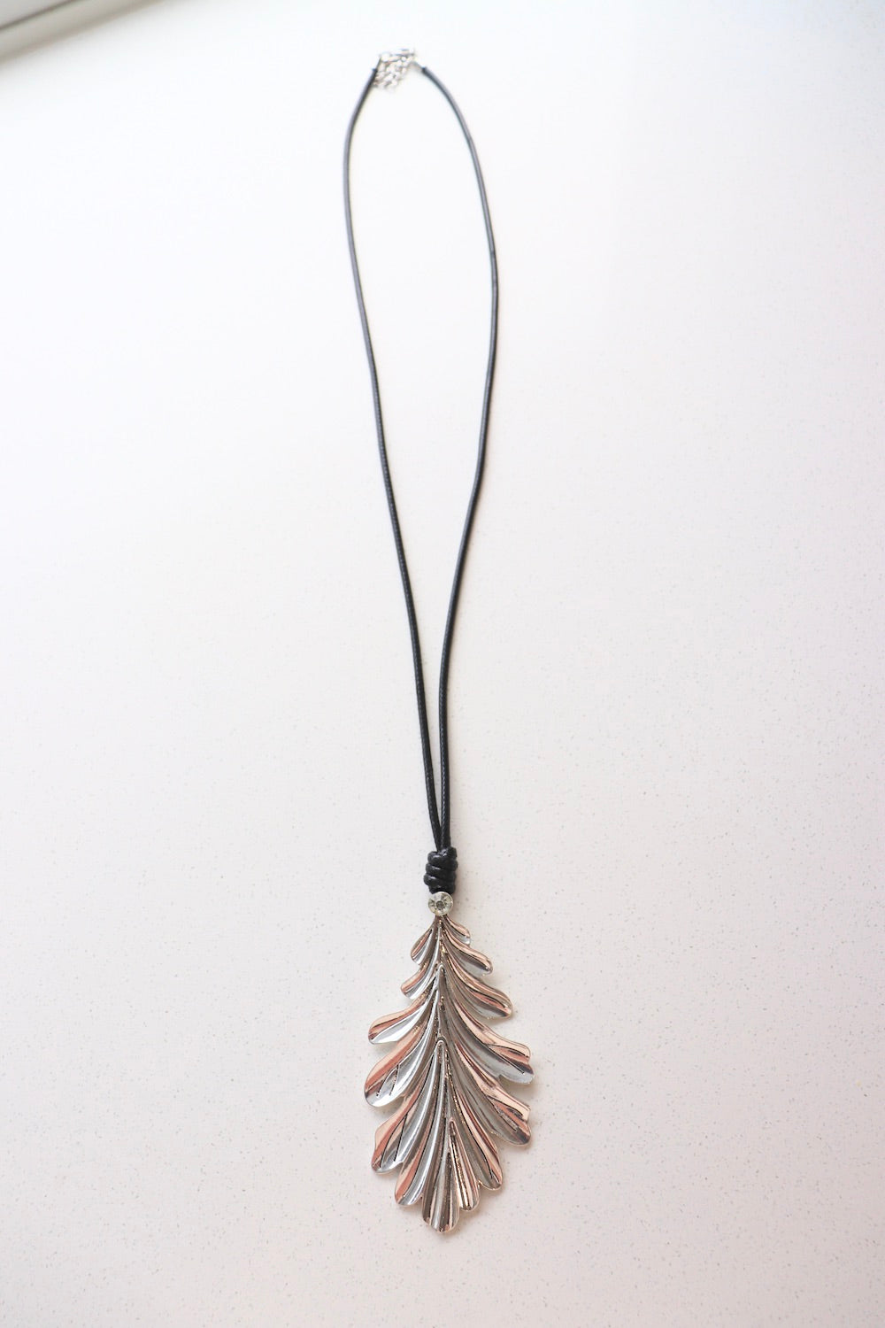 Long Silver Leaf Pendant Necklace