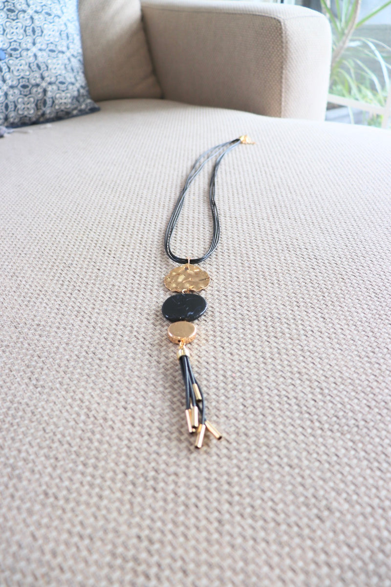 Long Gold & Black Pendant Necklace