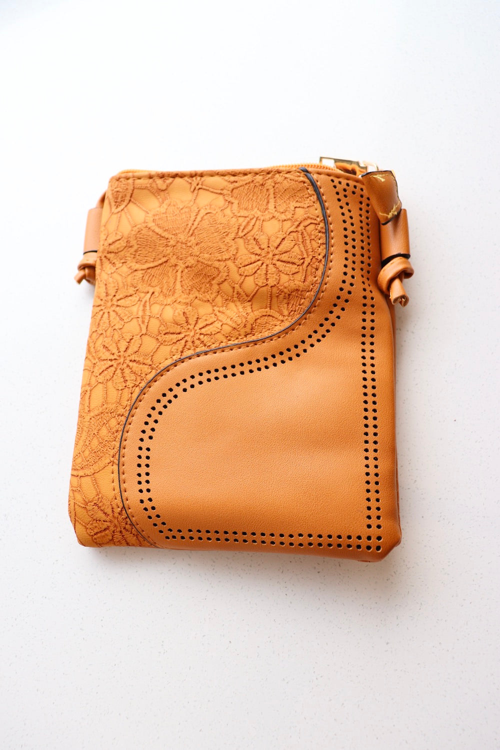 Small Faux Leather Bag in Tan Wave