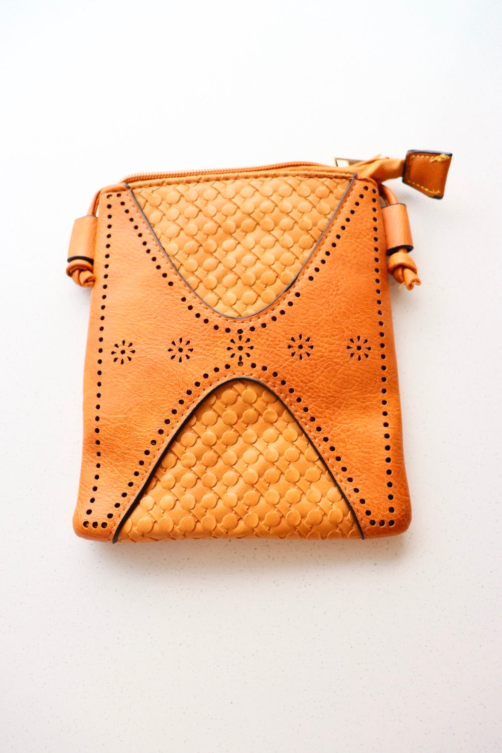 Small Faux Leather Bag in Tan