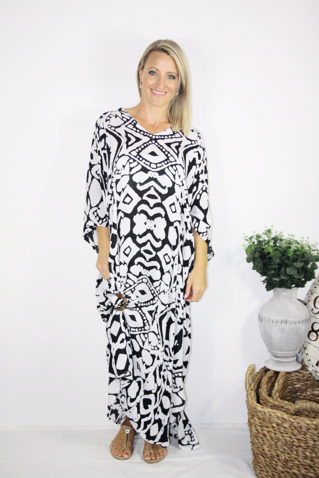 Black & White Long Kaftan