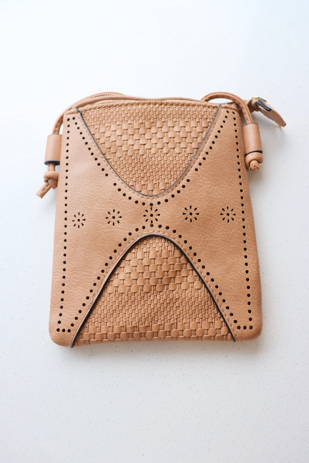 Small Faux Leather Bag in Caramel