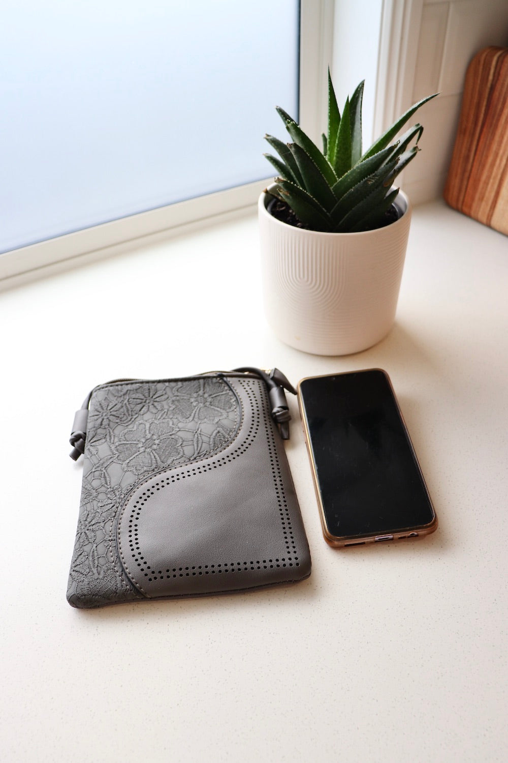 Small Faux Leather Bag in Grey Wave