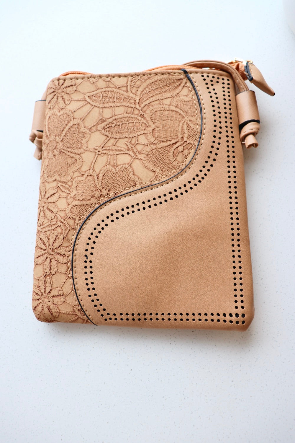 Small Faux Leather Bag in Caramel Wave