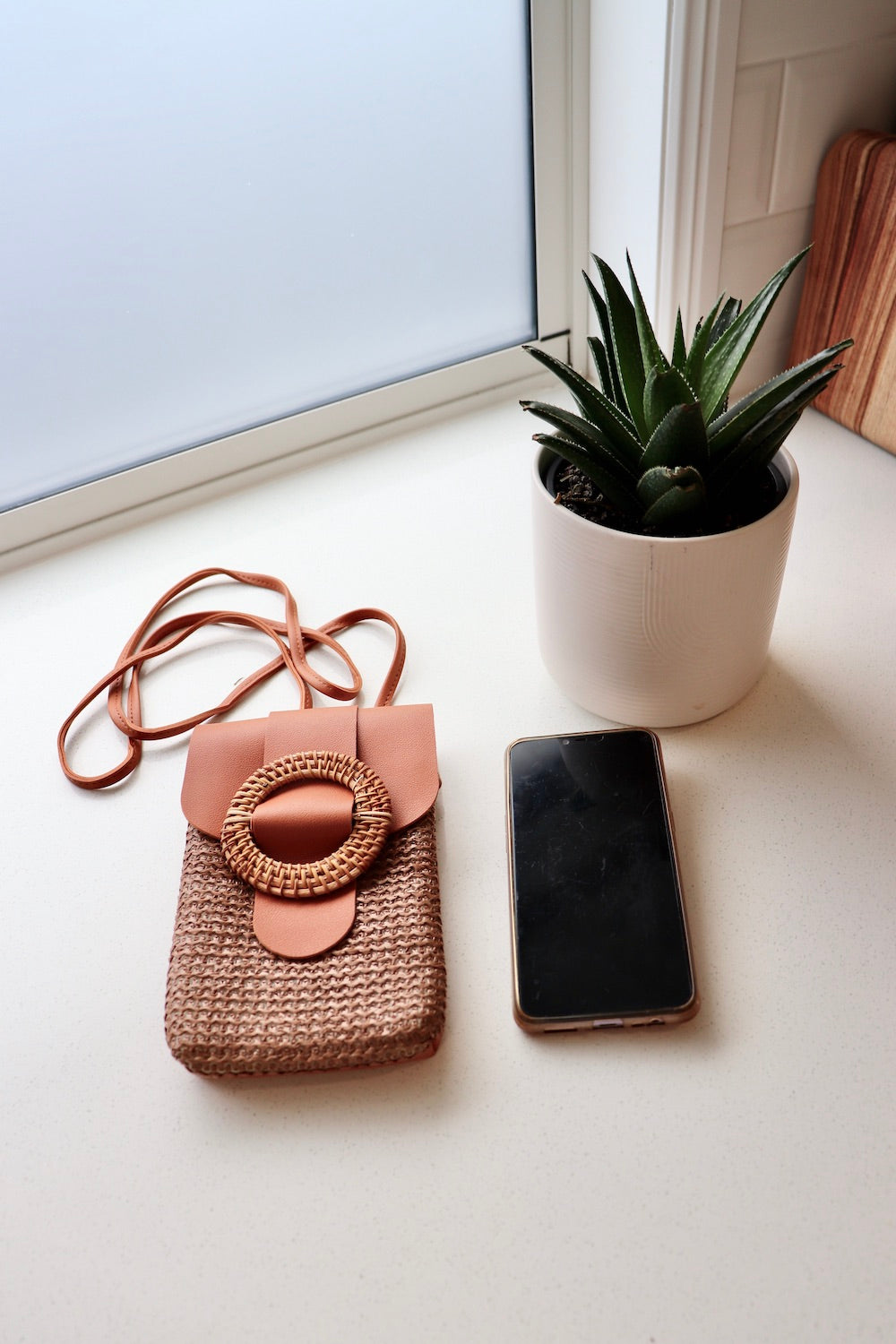Rattan Mobile Phone Bag Round Clip In Tan