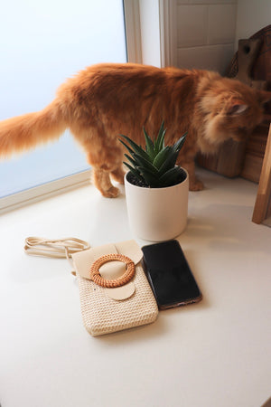 Rattan Mobile Phone Bag Round Clip In Latte