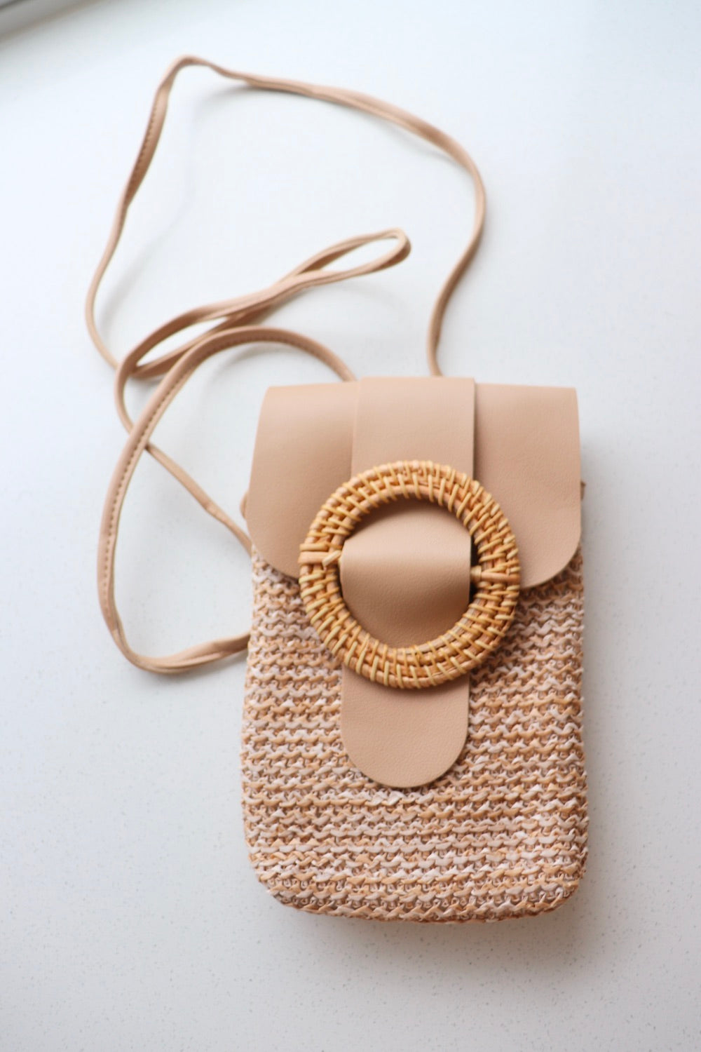 Rattan Mobile Phone Bag Round Clip In Caramel