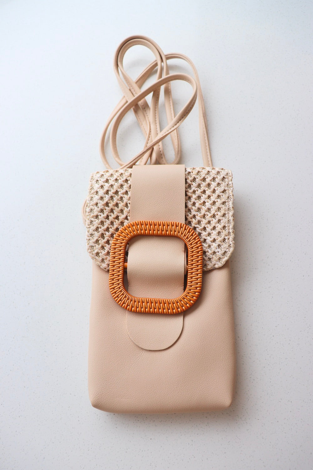 Rattan Mobile Phone Bag Square Clip In Latte