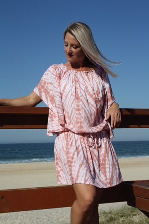 Holiday Dreaming Short Beach Dress/Top In Pink Spash