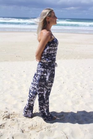 Living it up Jumpsuit in Blue Marbel