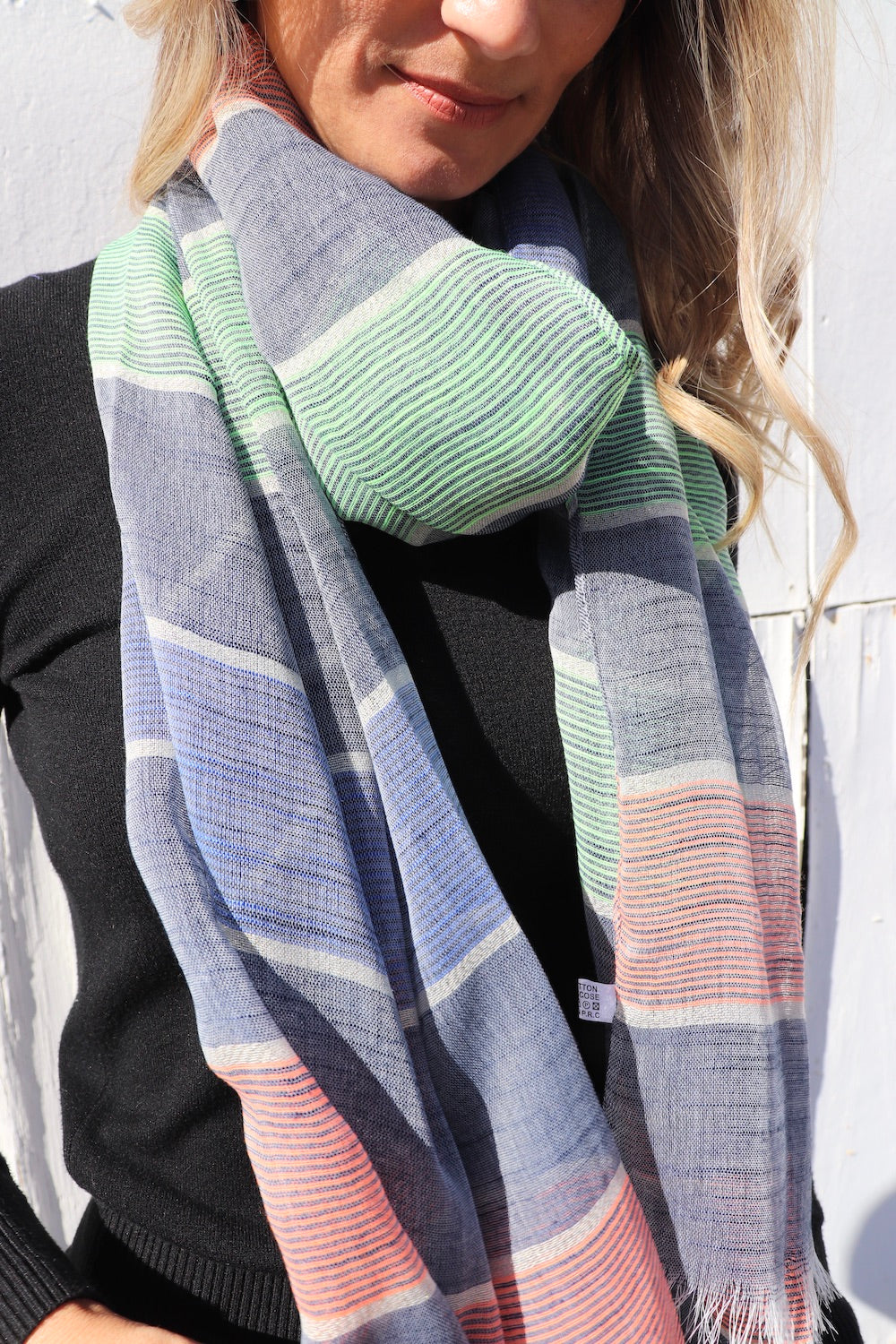 Marley Colourblock Scarf in chambray