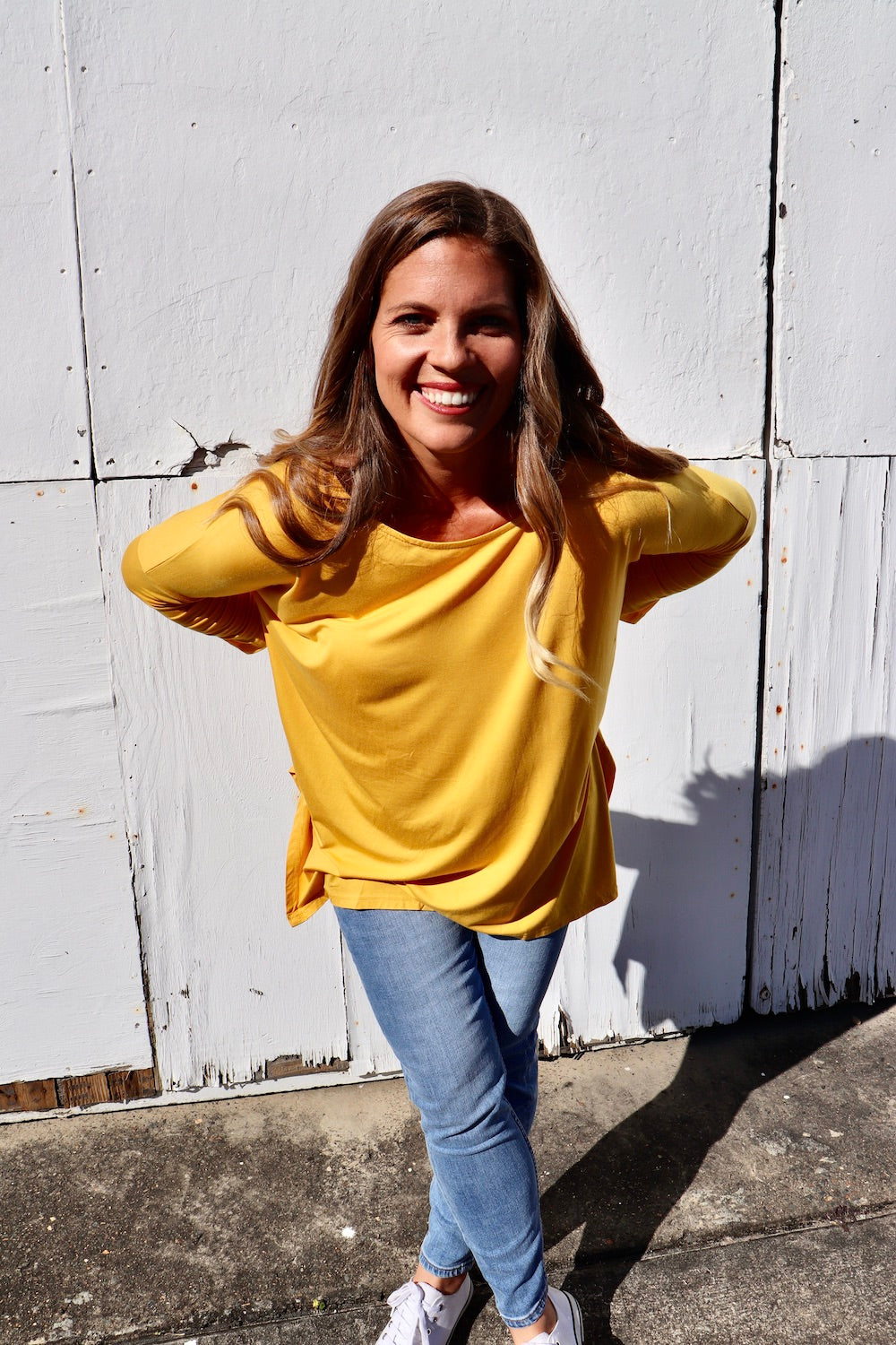 Basics - Oversized Longsleeve Jersey Top in Mustard