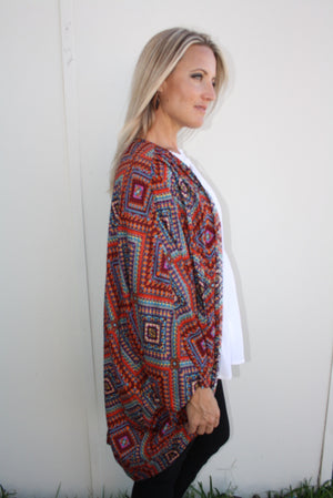 Short Cape In Red Mosaic