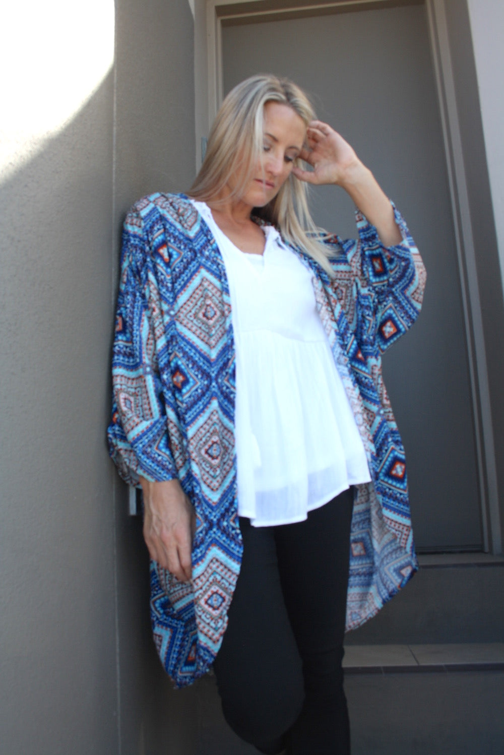 Short Cape In Blue Mosaic