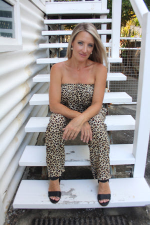 Living it up Jumpsuit in Leopard Brown