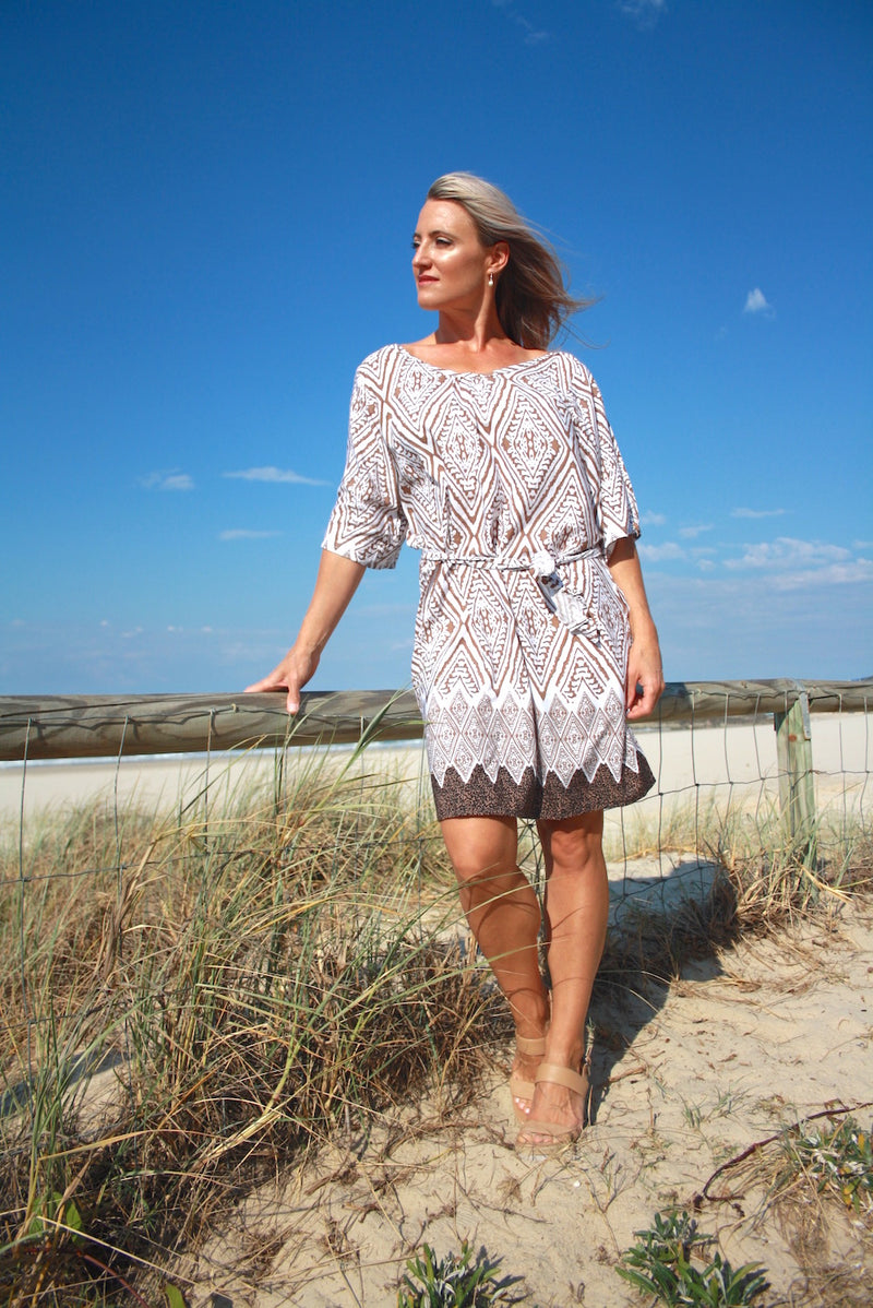 Getaway Dress - Taupe Boarder