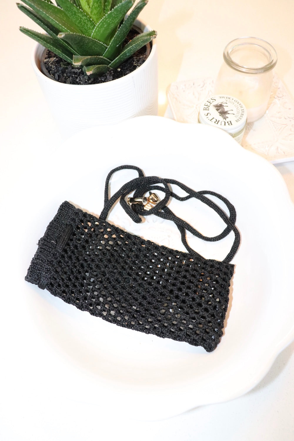 Crochet Water Bottle Bag In Black