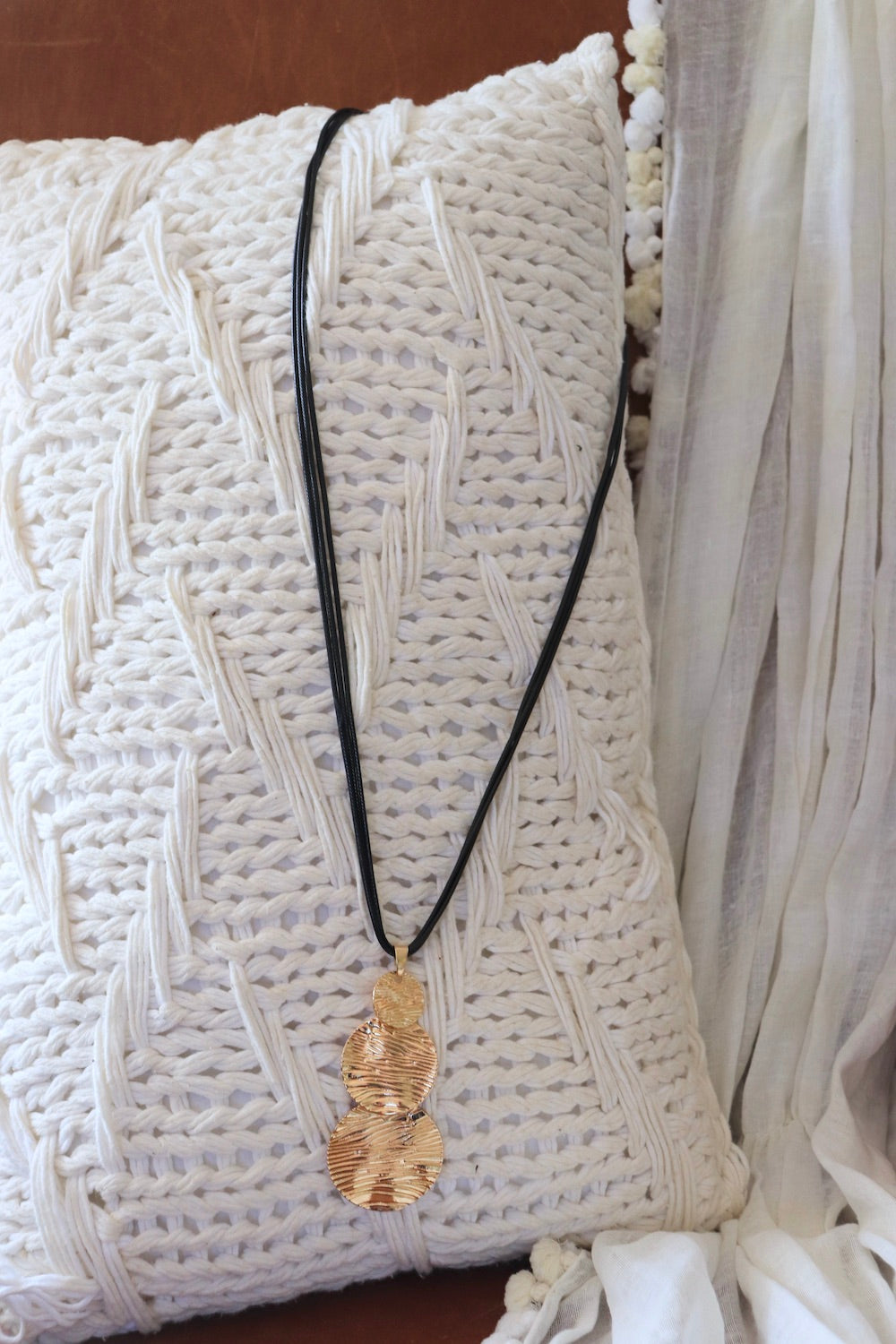 Faux Leather Triple Gold Pendant Necklace