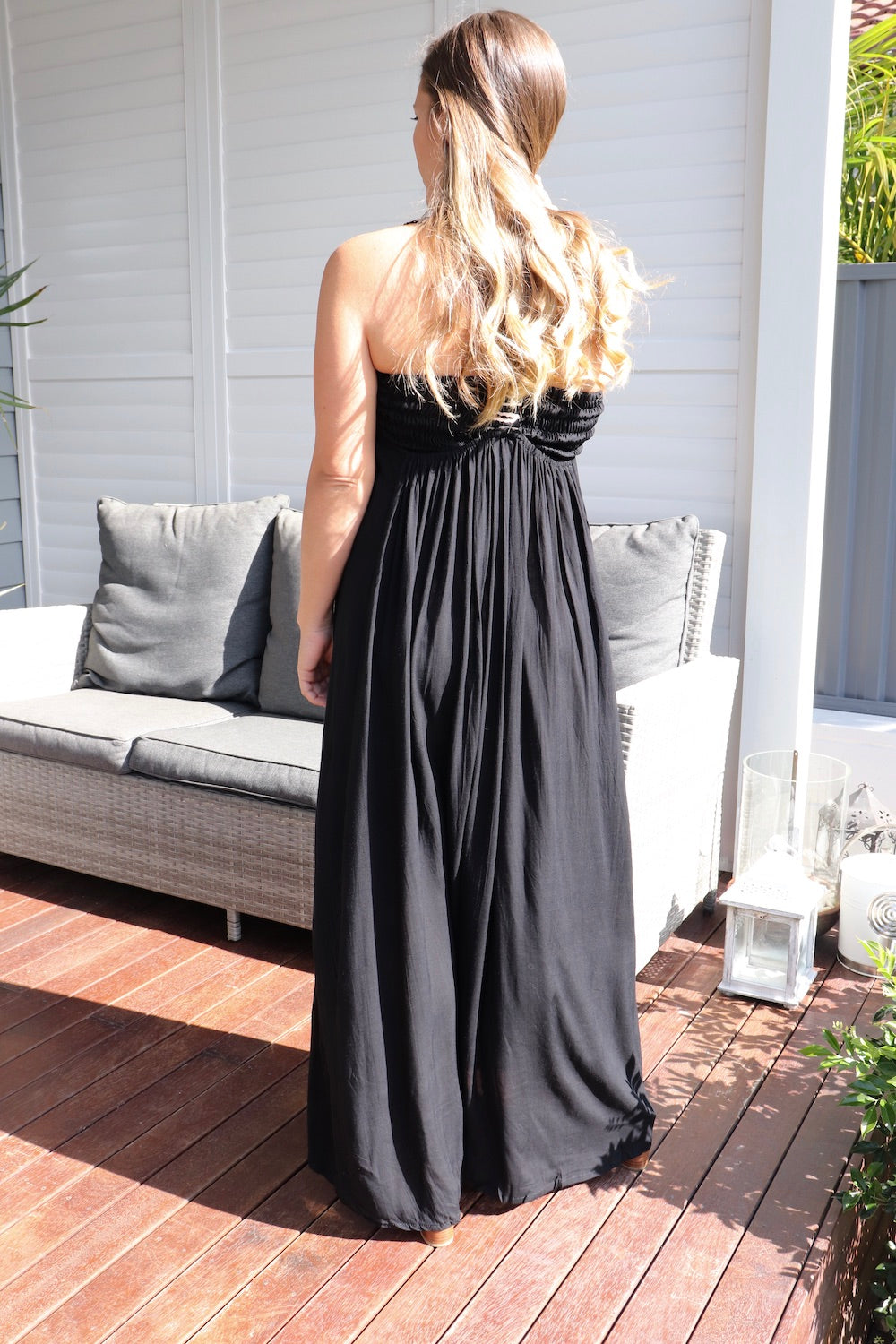 T Bar Maxi Dress In Black