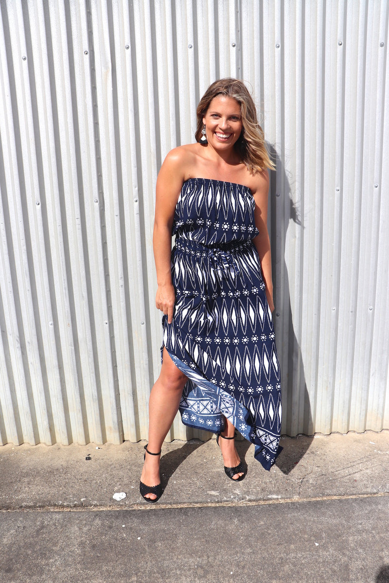 Daytripper Maxi In Navy Aztec