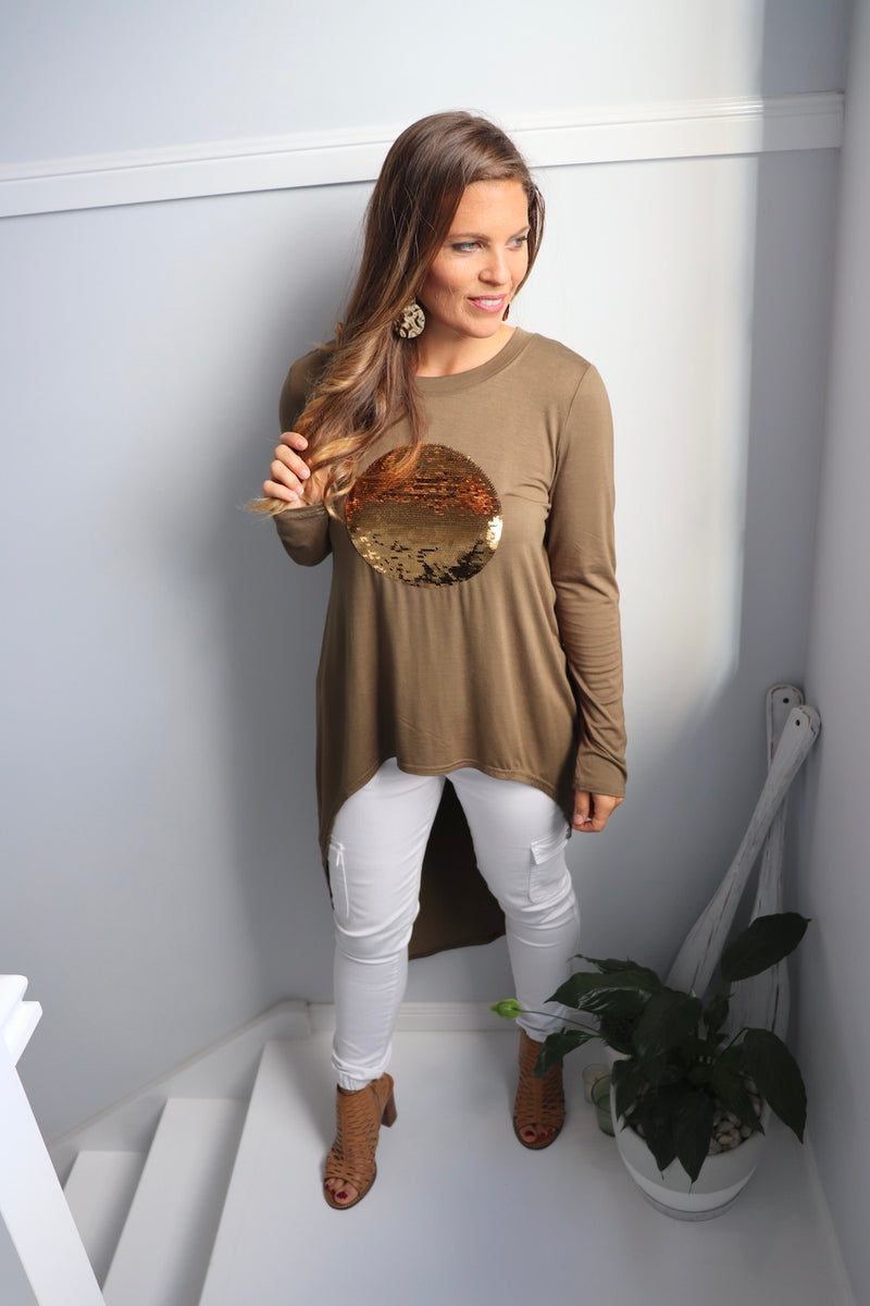 Gold Bling High Low Jersey Top