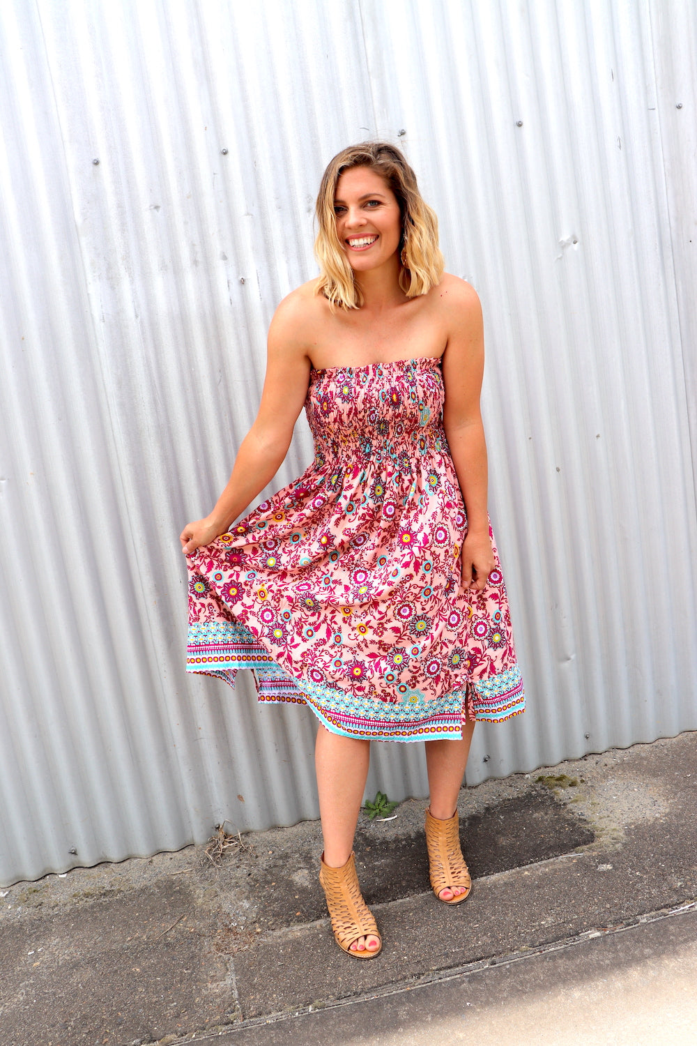 Strapless Beach Dress/Skirt In Botanical