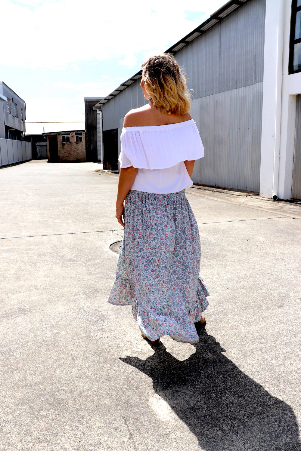 Long Bohemian Skirt In Blue