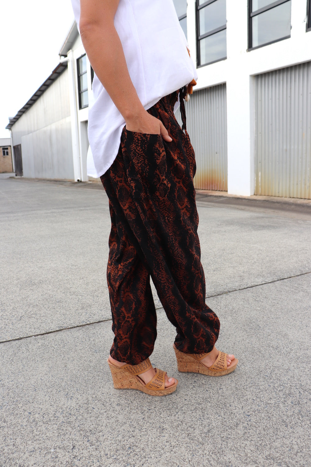 Harem Elastic Long Pant In Rust