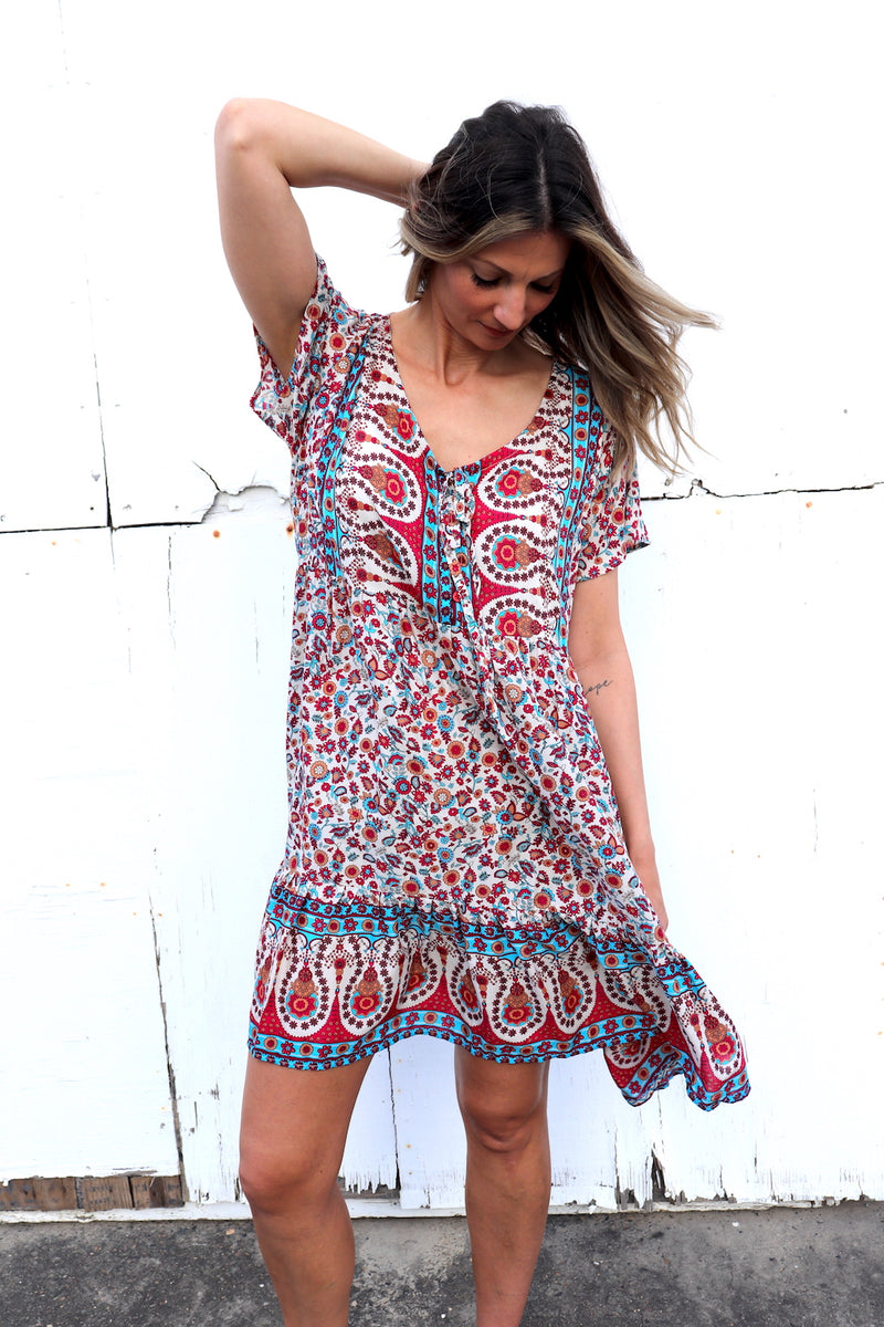 Baby Doll Tie Up Dress In Red Fields