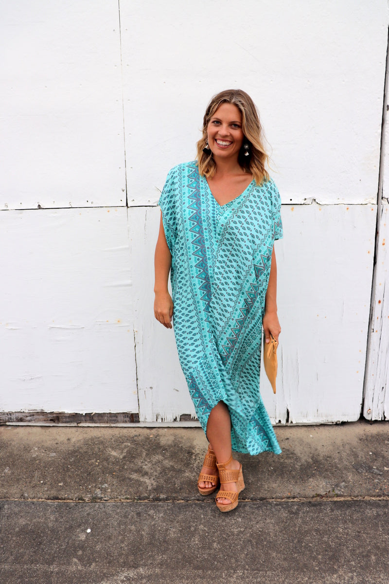 Island Holiday High Low Dress In Aquamarine