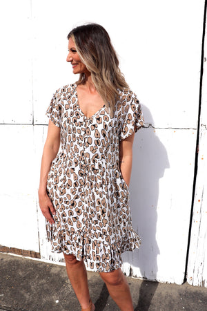 Baby Doll Button Up Dress In Espresso