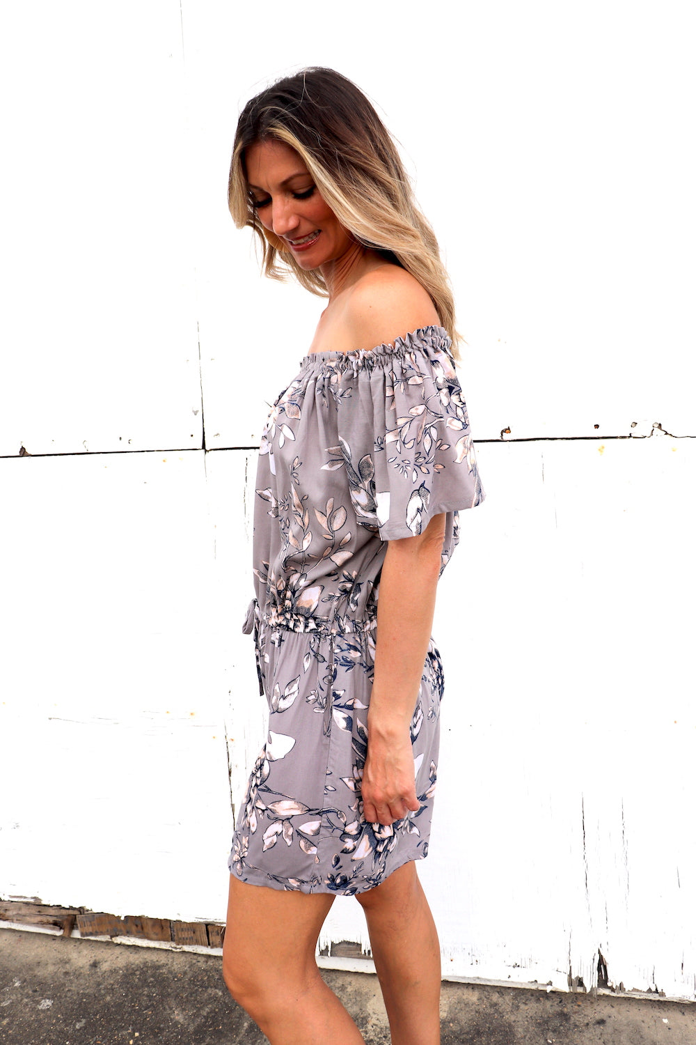 Coastal On/Off Shoulder Short Jumpsuit In Taupe Flower