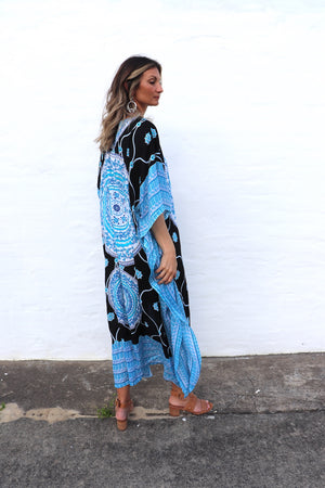 Bling Long Kaftan In Dazzling Blue