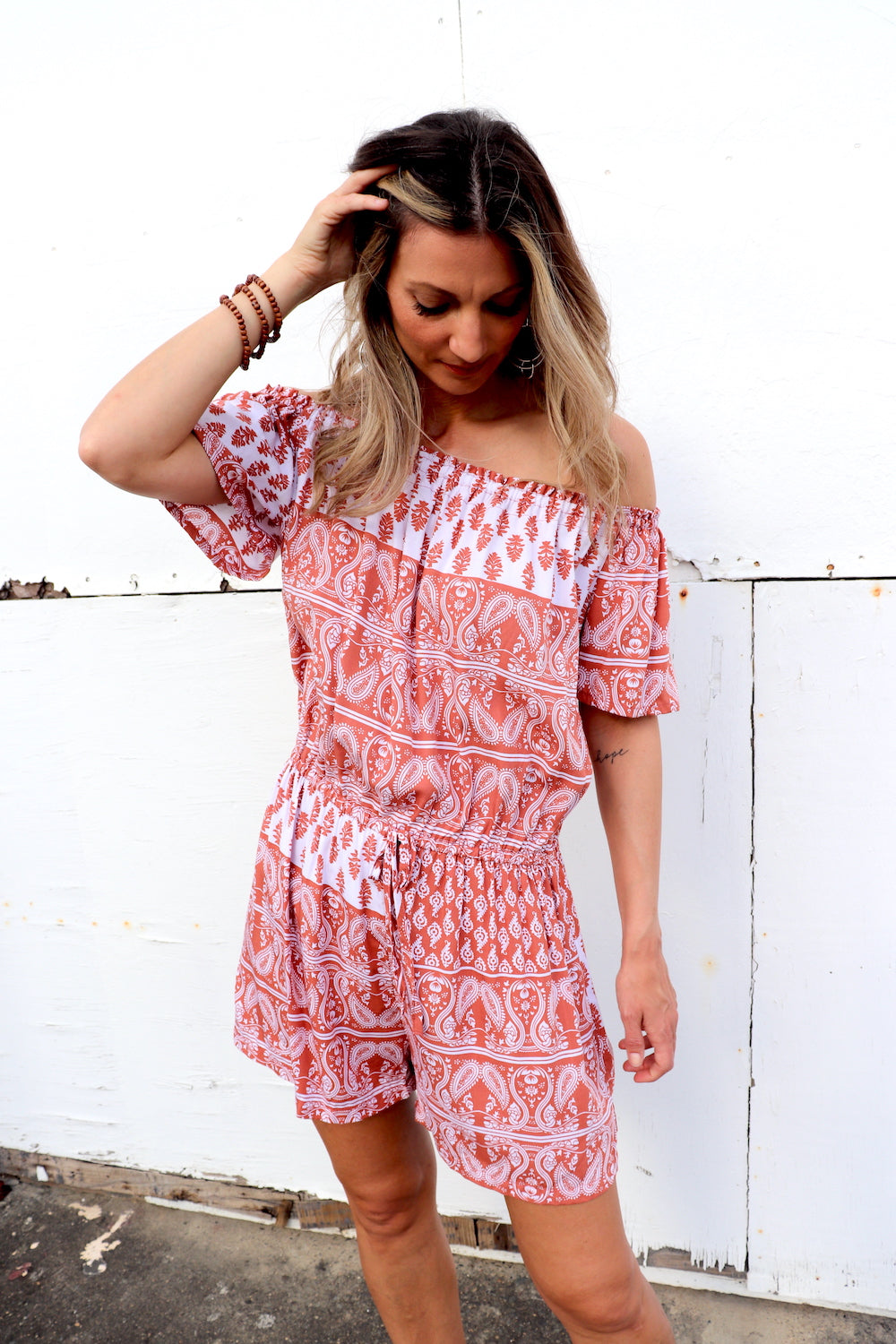 Coastal On/Off Shoulder Short Jumpsuit In Terracotta