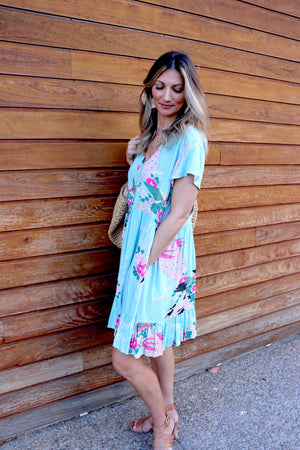 Baby Doll Button up Dress In Oriental Sky
