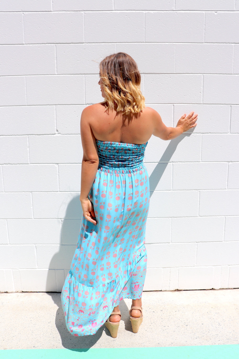 Florence Strapless Dress In Sky Blue
