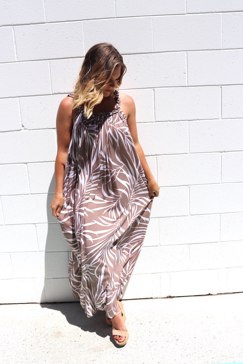 Celine Maxi Dress In Taupe Vine