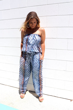 Living It Up Long Jumpsuit In Blue Splash