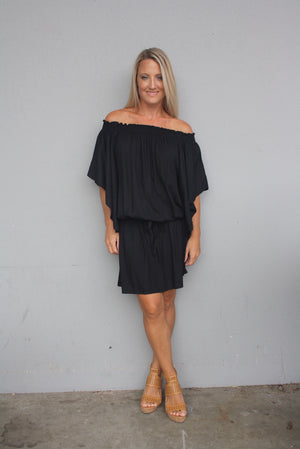 Holiday Dreaming Short Beach Dress/Top In Black