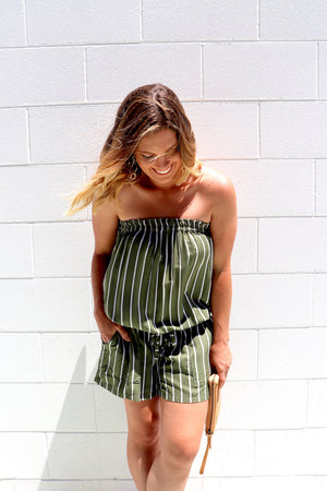 Maldives Short Jumpsuit In Olive Stripes