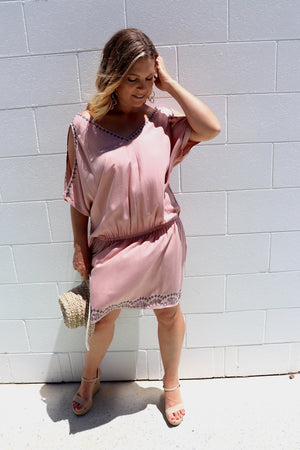 Short Grecian Dress In Dusty Pink Embroidery