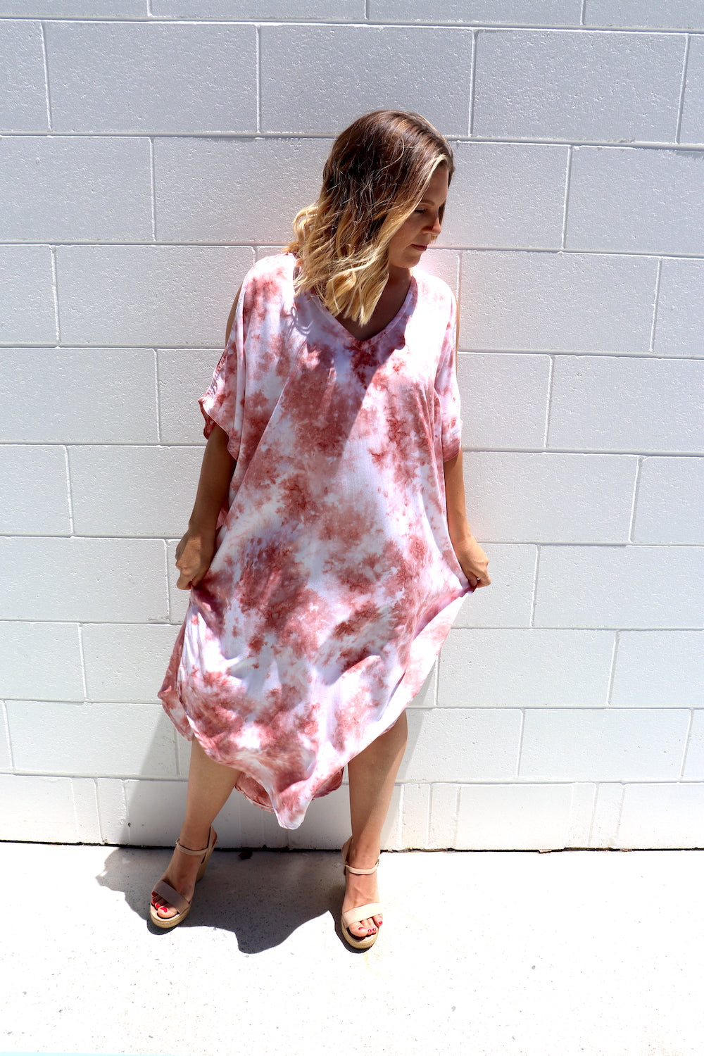 Cold Shoulder Dress In Pink Splash