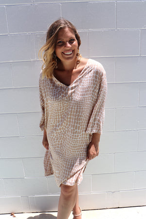 3/4 Sleeve Tunic In Pebbles