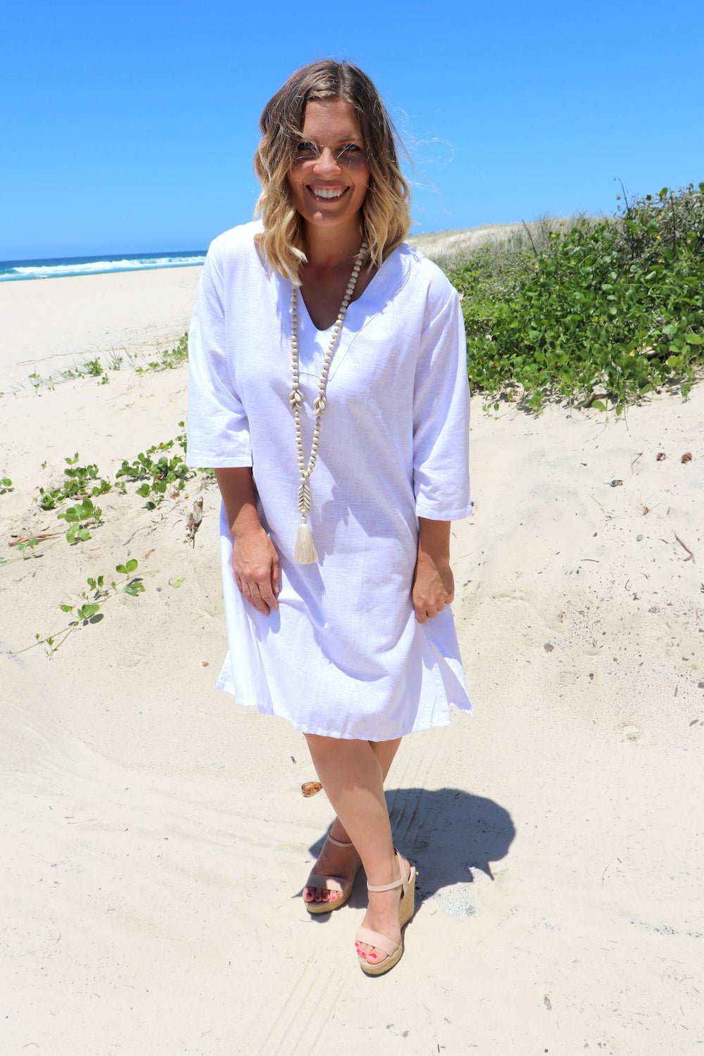 3/4 Sleeve Tunic In 100% White Cotton