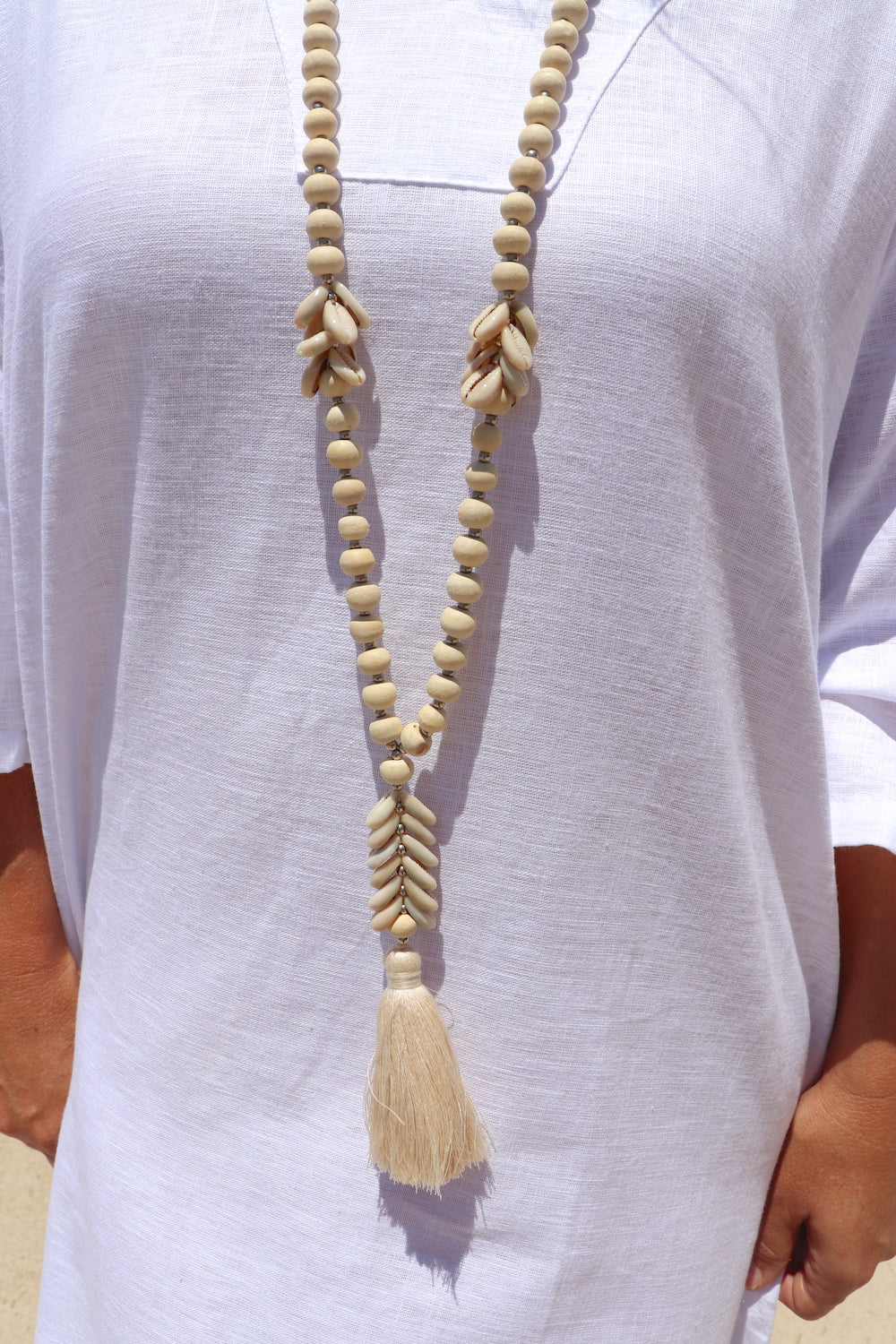 Wood Bead & Cowrie Shell Necklace