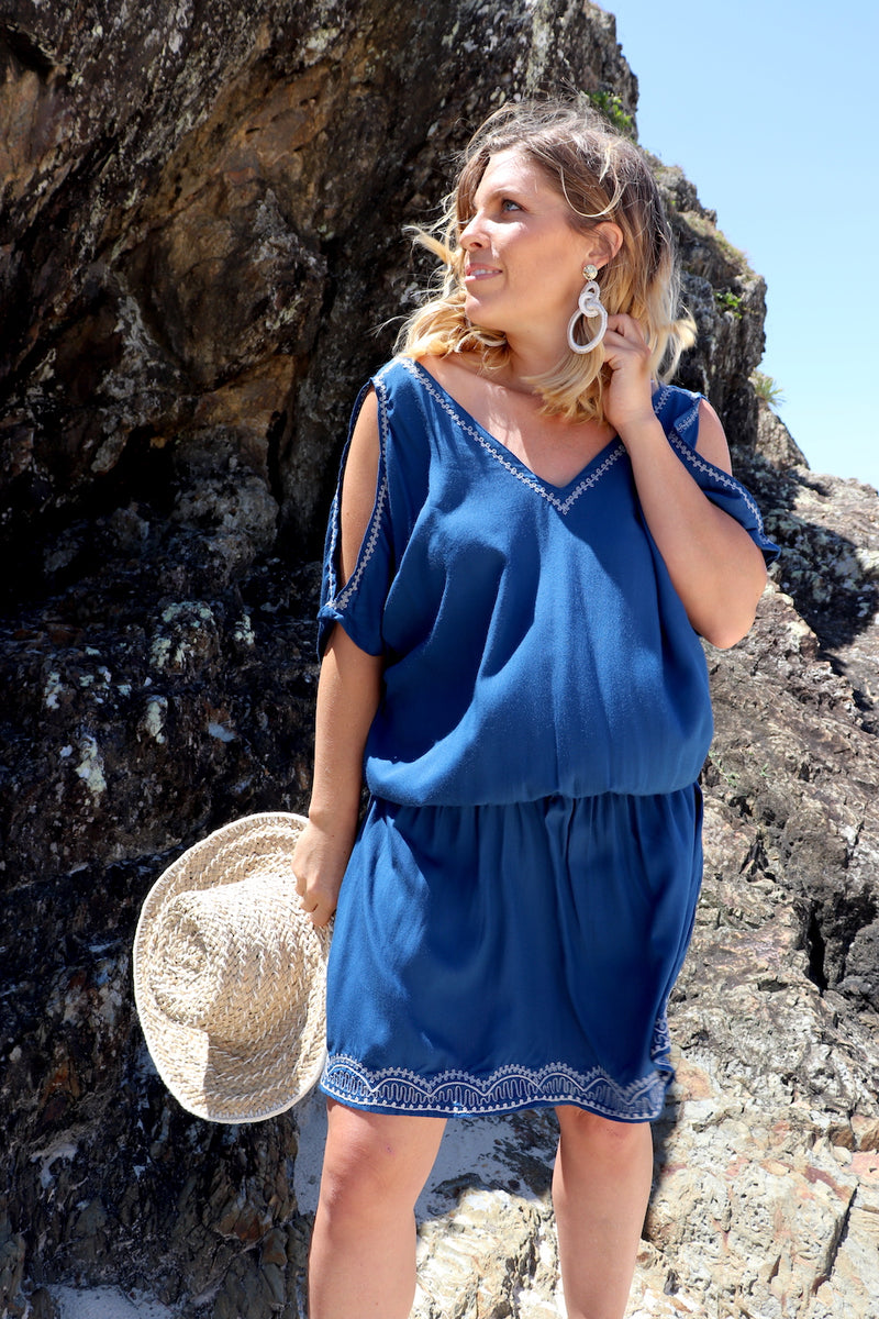 Short Grecian Dress In Blue Embroidery