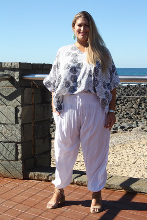 Harem Elastic Long Pant In White