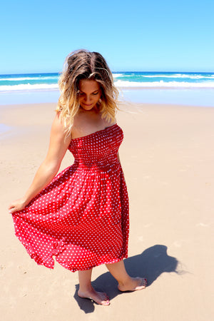 Strapless Stretchy Polka Dot Dress/Skirt In Red